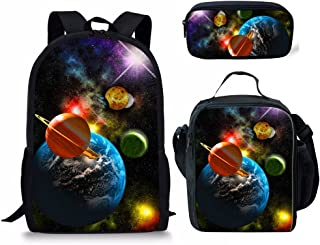 INSTANTARTS Galaxy Space School Shoulder Backpack+Insulated Lunch Lunchbag+Pen Pouch