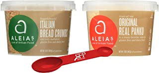 Aleias Gluten Free Variety Pack Includes: (1) Italian Bread Crumbs, Gluten Free Bread Mix, 13 Oz. and (1) Panko Gluten Free Bread Crumbs, 12 Oz, With a Bonus Measuring Spoon.