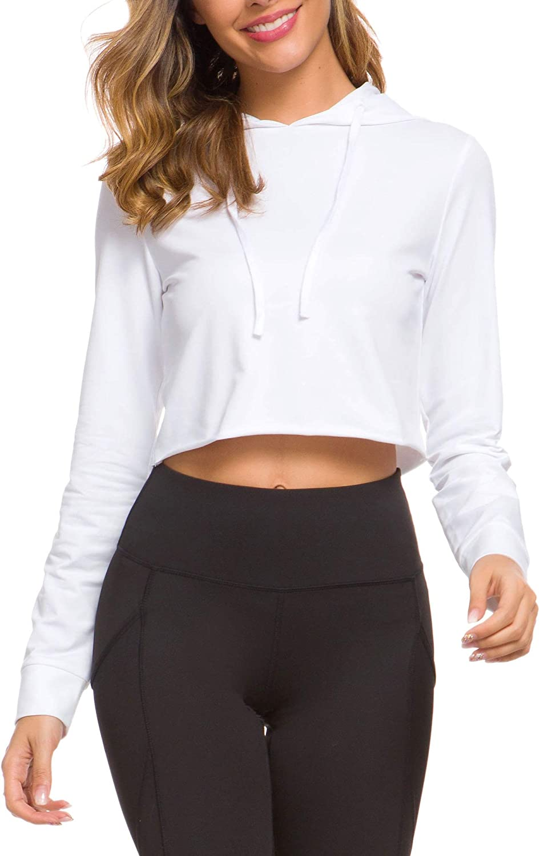 DIRASS Women's Long Sleeve Cropped Hoodie Casual Pullover Active Top Sweatshirt