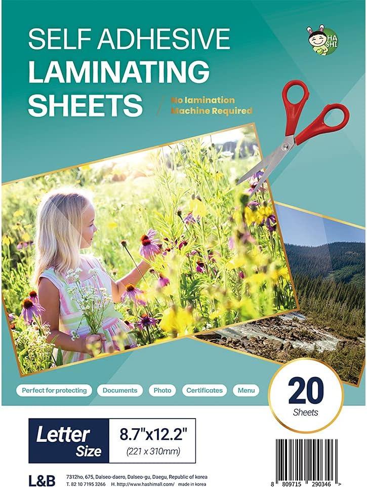 (20 Sheets) HA SHI Self Adhesive Laminating Sheets, No Machine Need, Letter Size, 9 x 12 Inch