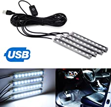 iJDMTOY 4pc 5-Inch 36-SMD LED Ambient Styling Lighting Kit For Car Interior Decoration, Powered From Car 5V USB Socket, Xenon White
