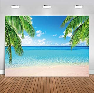 MMY 7x5ft Summer Beach Photography Backdrop Sea Ocean Palm Leaf Sand Beach Background Wedding Baby Shower Birthday Party Banner Supplies Photo Booth Props