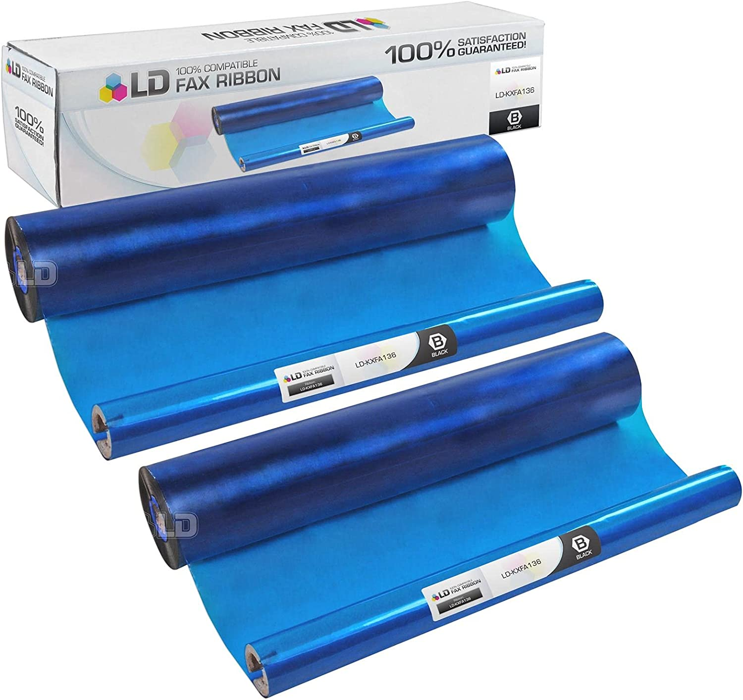 LD Compatible Fax Refill Roll Replacement for Panasonic KX-FA136 (Black, 2-Pack)