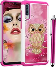 Voanice forGalaxy A50 Case, Shockproof Hybrid Heavy Duty Armor Protective Phone Case Hard PC & Soft Silicone Rugged Women Men Girls Dual Layer Protection Cover for Samsung Galaxy A50 -Cute Pink Owl