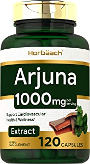 Horbaach Arjuna Standardized 1000 mg 120 Capsules | Supports Heart Health | Non-GMO, Gluten Free | from Arjuna Bark Herb Extract