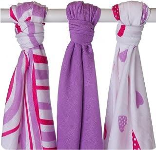 XKKO BMB070029A 3er Pack Bambuswindeln zum Wickeln violett beim Stillen Windeln 70 x 70 cm als Unterlage oder leichte Decke