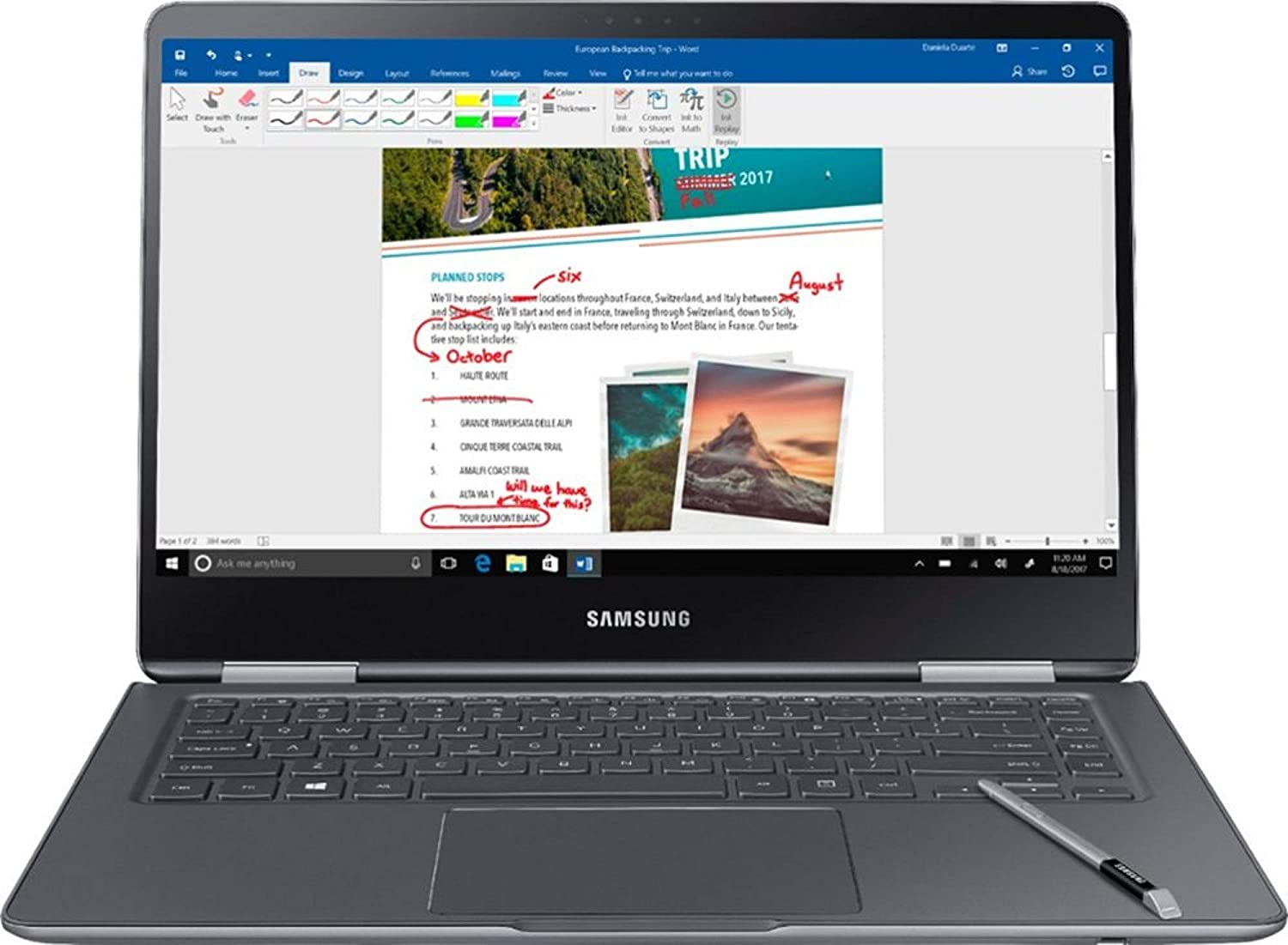 """Amazon.com: Samsung Notebook 9 Pro NP940X5N-X01US 15"""" FHD 2-in-1 Touch  Screen Laptop, 8th Gen Intel Quad-Core i7-8550U Up To 4GHz, 16GB DDR4,  256GB SSD, Backlit Keyboard, Windows 10, Built-in S Pen, Titan"""