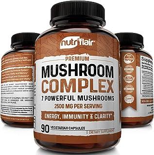 NutriFlair Mushroom Supplement 2500mg - 90 Capsules - 7 Organic Mushrooms - Reishi, Lions Mane, Cordyceps, Chaga, Turkey Tail, Maitake, Shiitake Nootropic Complex - Brain, Immune System, Energy, Focus