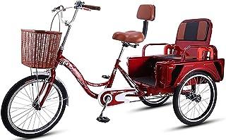Jlxl 3-Wheel Cruiser Cyklar 20 Tum Vuxen Trehjulingar Utmärkt Front V Bromsjusterbar Sits Och Kundvagn För Kvinnor Män Sho...