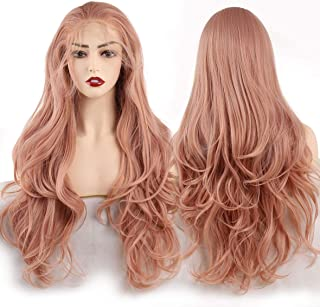 Leeven 24 Inch Long Wavy Synthetic Lace Front Wigs Orange Pink Natural Wavy Glueless Swiss Lace Wigs For Black Women Free Part High Temperature Heat Resistant Fiber Hair Wig