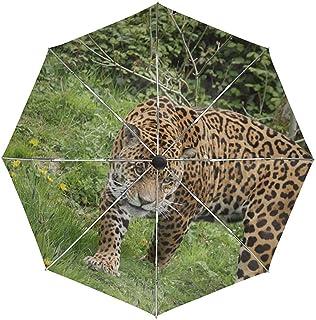 Paraguas automático Leopard Grass Walk Travel Conveniente A Prueba de Viento Impermeable Secado rápido Plegado Automático Abrir Cerrar