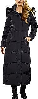 Maxi Down Coat with Detachable Faux Fur Hood for Women