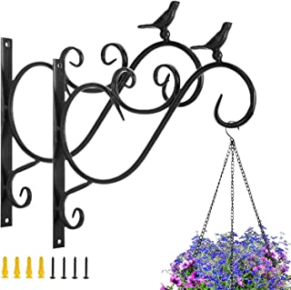 دمبيت قطعتين من دميبيت معلق للنباتات، 11.8 بوصة من حديد ريفي مزخرف على الحائط، خطافات لسلال الزهور، أضواء تغذية الطيور، حا...