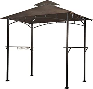 Sunjoy L-GG001PST-F 8' X 5' Soft Top Brown Double Tiered Canopy Grill Gazebo With 4Pcs Led Gazebo Grill,