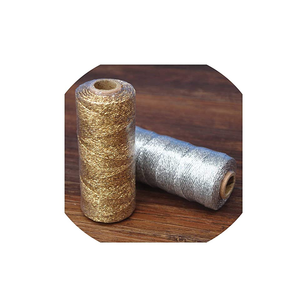 Ropes Twine Striped 110yard Striped DIY Metallic Twist Rope Twines Craft Gift Packing spools,Gold with Cotton