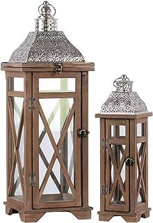 Amazoncom Wood Decorative Candle Lanterns Candleholders Home