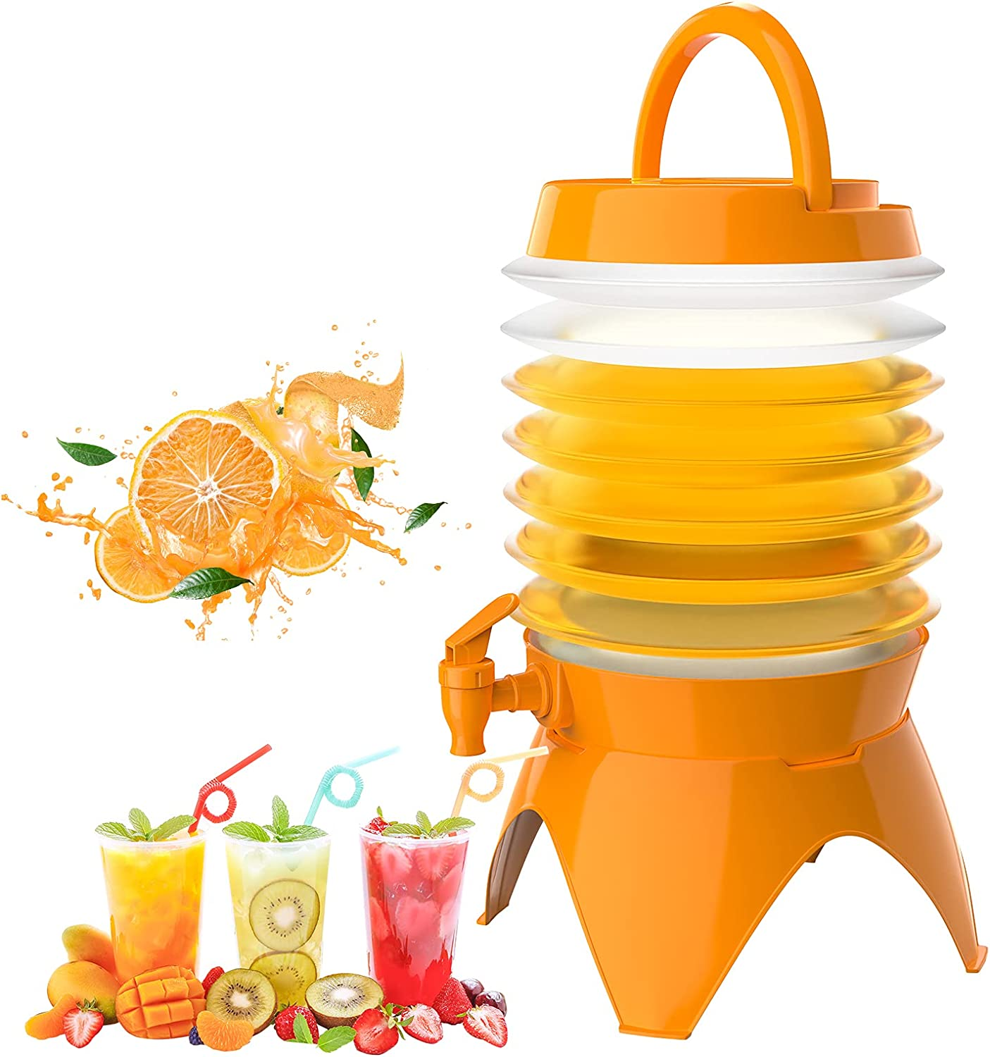 Housolution 1.5 Gallon Beverage Dispenser, Collapsible Drink Dispenser BPA Free Plastic Lemonade Juice Beer Beverage Dispenser Water Container with Stand & Spigot for Party Picnic Outdoor, Orange