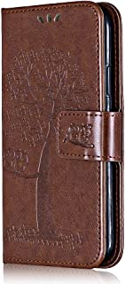 Case for Huawei P10 Lite, Bear Village® Wallet Case PU Leather Huawei P10 Lite Stand Cover, Silicone Back Magnetic Flip Embossing PU Case (#5 Brown)