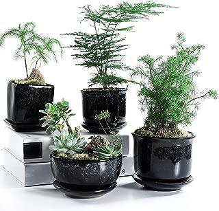 SUN-E 4.7 Inch Japanese Style Black Glaze with Snowflake Grain Base Serial Set Ceramic Succulent Plant Pot Cactus Plant Pot Flower Pot Container Planter Bonsai Pots with Display Tray Drainage 4In Set