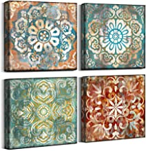 Mofutinpo Vintage Flowers Pattern Canvas Prints Wall Art for Bedroom 14x14 inches 4 Pieces Framed Artwork Vintage Picture Ready to Hang for Home Bathroom Kitchen Office Decoration