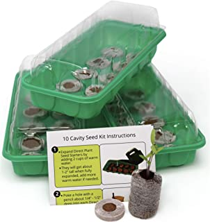 Seed Starting Kit – Complete Supplies – 3 Mini Sturdy Greenhouse Trays with Dome fits on Windowsill, Fiber Soil Pods, Instructions. Indoor/Outdoor Gardening. Grow Herbs, Flowers and Vegetables.