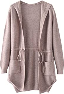 SheIn Women's Drawstring Waist Knit Hooded Cardigan Sweaters Long Sleeve with Pocket