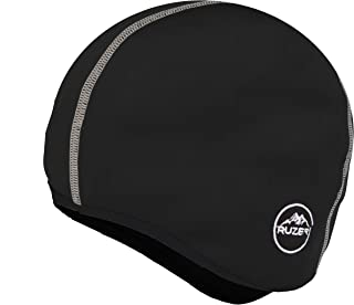 RUZER Cycling Sports Winter Under Helmet Fleece Lycra Skull Cap Beanie Thermal tech Stitch Running hat Windproof Tight Stretchable Breathable Base Layer
