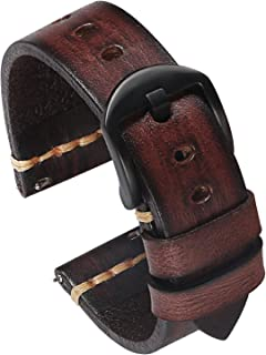 PBCODE Quick Release Leather Watch Bands for Men Handmade Vegetable Tanned Calfskin Vintage Leather Watch Straps 22mm Dark...