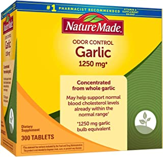 Nature Made Odor Control Garlic 1,250 mg Garlic Equivalent - 300 Tablets