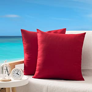 OHCOZZY Pack of 2 Outdoor Pillow Covers, Waterproof Decorative Throw Cushion Case Pillowcase for Garden Patio Furniture 18x18 Inch Red