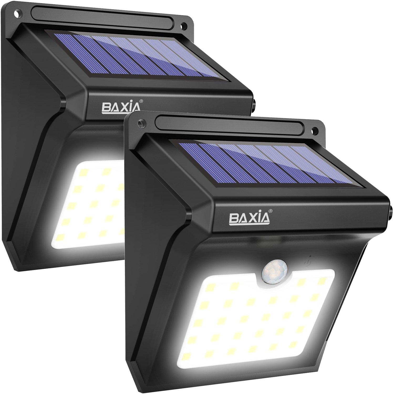 BAXiA Foco Solar, Luces Solares LED Exterior con Sensor de Movimiento, Lámpara Solar Exteriors Impermeable Solares de Pared de Seguridad para Jardín, Patio, Camino, Escalera- 28LED, 2 Piezas: Amazon.es: Iluminación