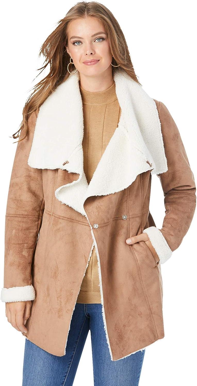 Roaman's Women's Plus Size Cascade Faux-Shearling Jacket