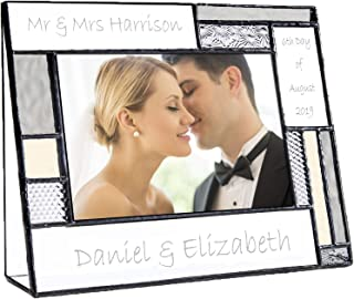 Wedding Picture Frame Personalized Gift for Couple Engraved Glass Table Top 4x6 Horizontal Photo Engagement Keepsake J Devlin Pic 392-46H EP624
