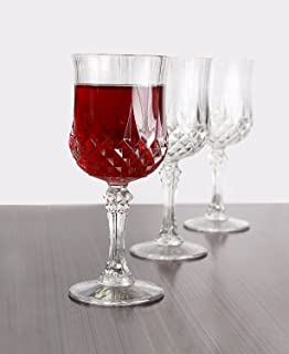 Simcha Collection Wine Glasses | Elegant design, Crystal-like Hard Unbreakable Disposable Plastic Perfect for Weddings, Picnics, Barbecues and other Events - Size 8 Oz | Pack of 4
