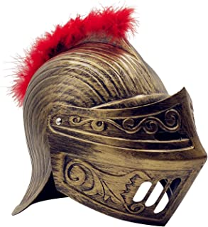 LOOYAR Medieval Knight Soldier Warrior Costume Helmet Hat Sallet with Red Plume and Folding Face Mask for Battle Play Halloween Cosplay LARP