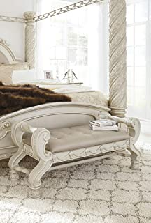Ashley Furniture Signature Design - Cassimore Upholstered Bench - Pearl Silver