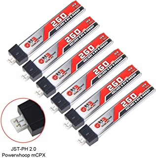 6pcs GAONENG 260mAh HV 1S LiPo Battery 30C 3.8V LiHV for Tiny Whoop JST-PH 2.0 Powerwhoop mCPX Connector