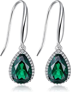 Pear Gemstones Birthstone 5.4ct Green Nano Russian Simulated Emerald Dangle Earrings For Women Solid 925 Sterling Silver
