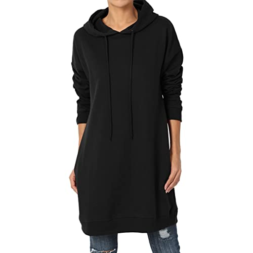 4b8e440ccfb TheMogan S~3X Basic Loose Fit Pocket Pullover Hoodie Long Tunic Sweatshirts