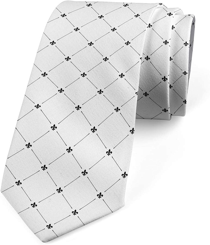 Ambesonne Men's Tie, Shabby Plant Damask, Necktie, 3.7