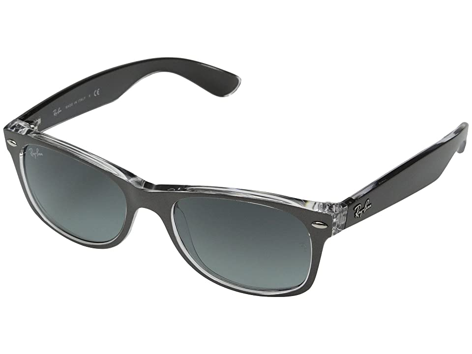 Ray-Ban RB2132 New Wayfarer 52mm (Top Brushed Gunmetal/Transparent) Sport Sunglasses