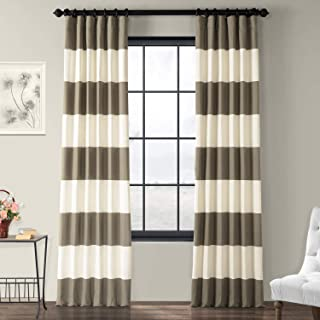 PRCT-HS04-84 Horizontal Stripe Cotton Curtain, Thunder Tan & Off/White