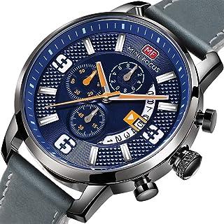 ميني فوكس ساعة كاجوال للرجال ، انالوج بعقارب ، حزام جلد ، رمادي ، MF0025G-03