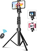 """Bcway Phone Tripod, 55.9"""" Extendable Selfie Stick Tripod Bluetooth, All-in-One Travel Tripod with Remote, Compatible with iPhone 11 Pro Max/11 Pro/11/XS/XS Max/XR/X/8, Galaxy S20/S10, Camera, Gopro"""