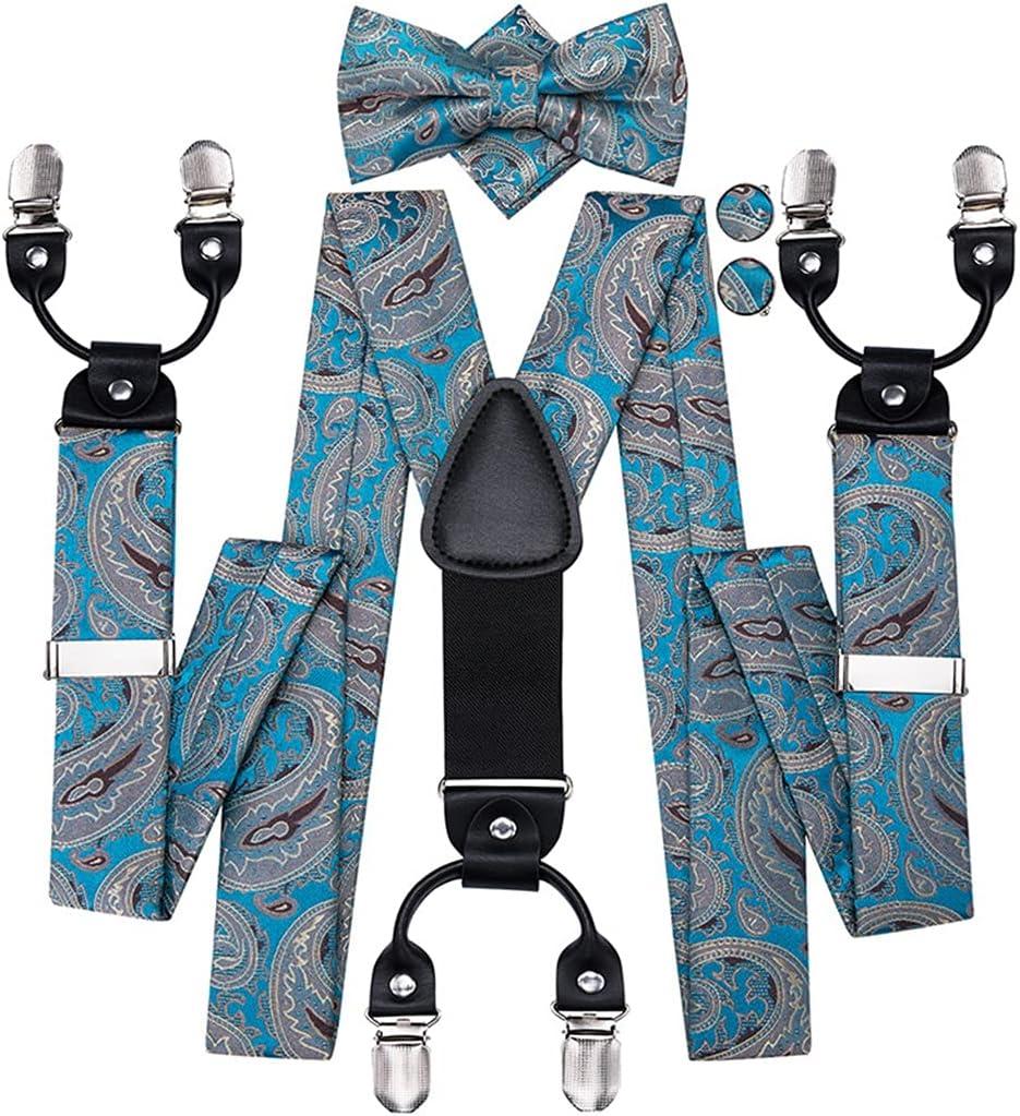 HLDETH Men's Suspender 6 Clips Braces Men Classic 3.5cm Width Fashion Blue Paisley Suspender and Bowtie Men (Color : A, Size : Adjustable)