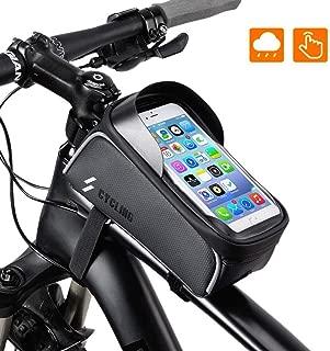 AVNICUD Bike Phone Bag Waterproof Bike Front Frame Top Tube Bag, Mountain Bike Phone Front Tube Mount Bag with Touch Screen Sun Visor for iPhone X Max XS 8 Plus Samsung S9 (Below 6.0 inch)