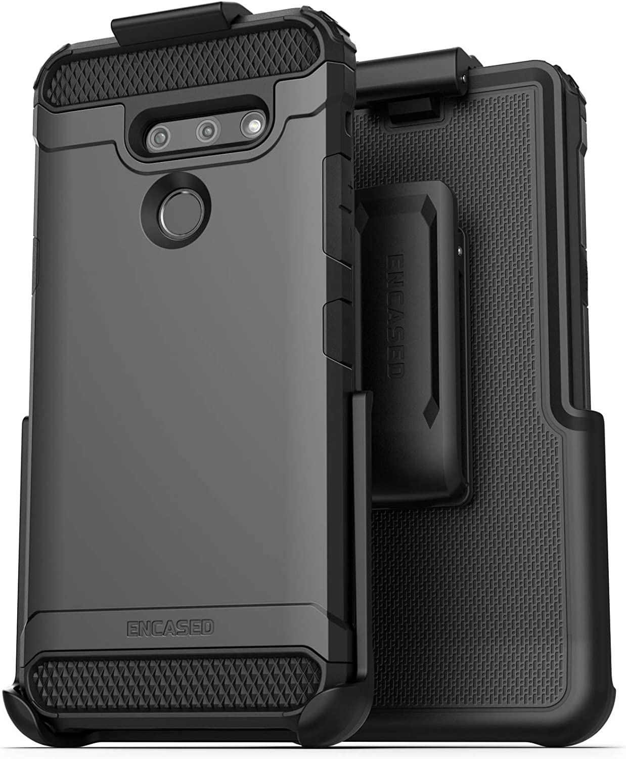 Encased Belt Clip Holster Case Compatible with LG G8 ThinQ (Scorpio Armor) Protective Tough Grip Cover with Holder - Black