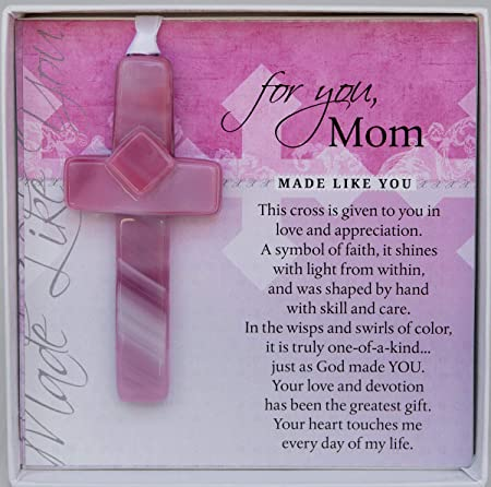 Handmade Glass Cross for Mother with Poem