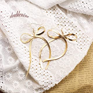 DoubleNine Bow-Knot Ribbon Drop Dangle Earrings Handmade Gold Minimal Love Sweet Wedding Brida Jewelry for Women Girls (gold)