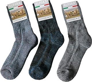 Gesundheitsstrumpf, 3 pares de calcetines funcionales de lana de alpaca para senderismo, senderismo, exterior, senderismo, suela de rizo